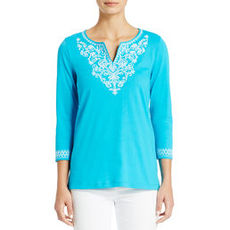 Split Neck Cotton Tunic with 3/4 Sleeves