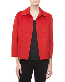 Michael Kors Double-Faced Plush Wool-Angora Jacket, Crimson