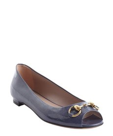 Gucci steel blue patent leather peep toe flats