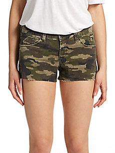 Saks Fifth Avenue GRAY Camouflage-Print Cut-Off Shorts