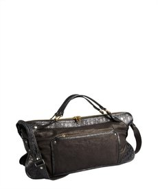 Celine black washed and croc embossed leather convertible top handle bag