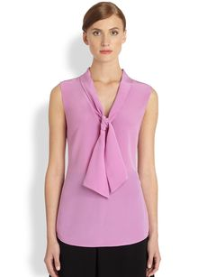 Saks Fifth Avenue Collection Silk Tie-Front Blouse