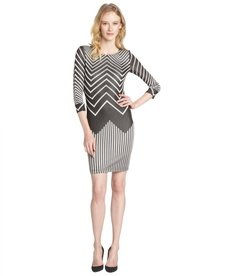A.B.S. by Allen Schwartz grey chevron stretch knit 3/4 sleeve dress