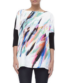 Marina Rinaldi Victoria Painterly Three-Quarter-Sleeves Tee, Women's