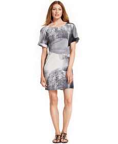 Calvin Klein Jeans Short-Sleeve Printed Shift Dress