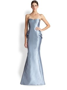 Badgley Mischka Strapless Mikado Tiered Peplum Gown