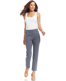 Charter Club Tummy-Control Printed Ankle Pants