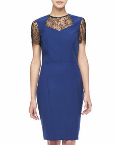 Jason Wu Short-Sleeve Lace Combo Dress