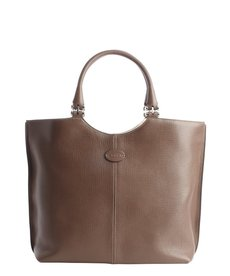 Tod's taupe leather logo stamp shoulder bag