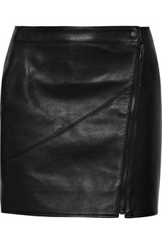 Tibi Paneled textured-leather mini skirt