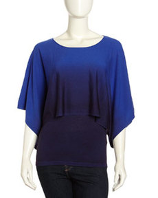 Lafayette 148 New York Dip Dyed Kimono-Sleeve Sweater, Electric Blue