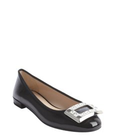 Prada black shined leather crystal studded buckle detail flats