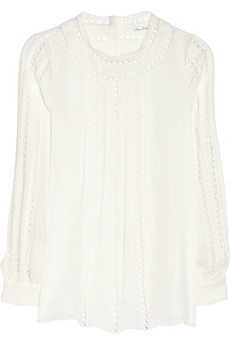 Oscar de la Renta Embroidered silk-georgette blouse