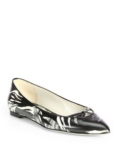 Jason Wu Tropical-Print Leather Ballet Flats