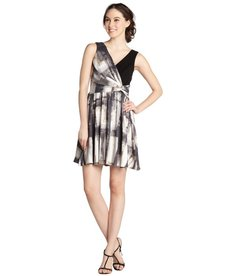 A.B.S. by Allen Schwartz taupe watercolor print v-neck sleeveless dress