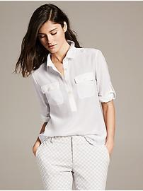 White Silk Utility Blouse