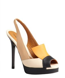 Fendi nude and orange colorblock leather platform slingbacks