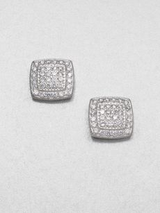 Adriana Orsini Pavé Sterling Silver Button Earrings