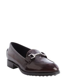 Tod's wine patent leather engraved buckle detail penny loafers