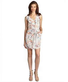 Rebecca Taylor white coral and grey semi-sheer stretch silk ruffled 'Misty Garden' tunic dress