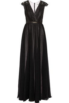 Badgley Mischka Leather-trimmed silk-chiffon gown