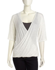 Three Dots Wrap-Front Dolman Sleeve Tee, White