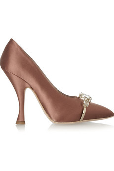 Miu Miu Jewel-embellished satin pumps