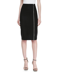 Michael Kors Zip-Hem Pencil Skirt, Black