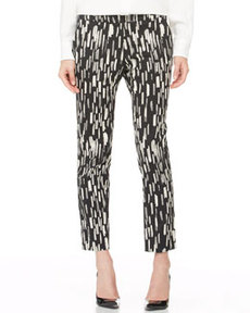 Caroline Printed Ankle Pants, Black/Ivory   Caroline Printed Ankle Pants, Black/Ivory