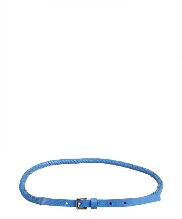Calvin Klein periwinkle snake embossed leather braided rope belt