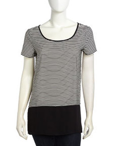 Max Studio Colorblocked Stripe Pattern Shirt, Black/Ivory