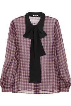 Miu Miu Plaid silk-chiffon blouse