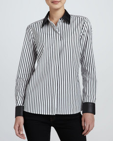 Go Silk Striped Leather-Trim Shirt