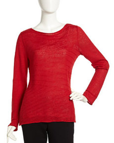Lafayette 148 New York Striped Band Pattern Linen Sweater, Cardinal