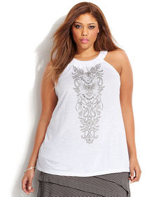 INC International Concepts Plus Size Embroidered Halter Top