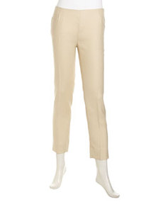 Lafayette 148 New York Stanton Slim Cropped Linen Pants, Stone