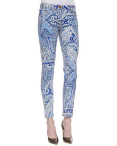 Etro Five-Pocket Slim Paisley Print Jeans, Blue