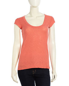 James Perse Scoop-Neck Slub Tee, Cactus Flower