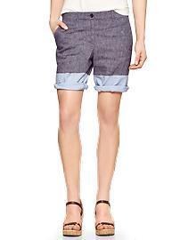 Colorblock chambray boyfriend roll-up shorts
