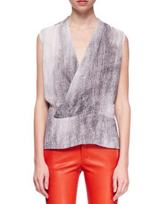 Eugenie Monochromatic Crossover Blouse   Eugenie Monochromatic Crossover Blouse