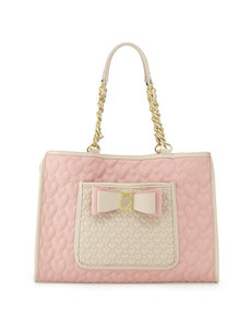 Betsey Johnson Two-Tone Quilted Heart Tote Bag, Blush