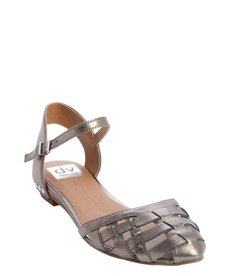 DV by Dolce Vita dark silver woven leather flat 'Geno' sandals