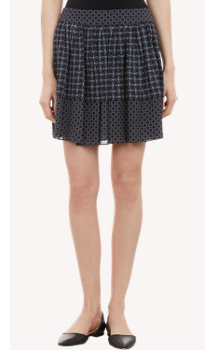 Proenza Schouler Iron-Print Silk Full Mini Skirt