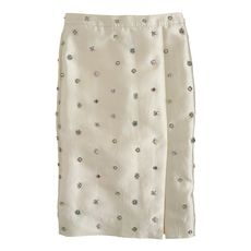 Collection jeweled shantung pencil skirt