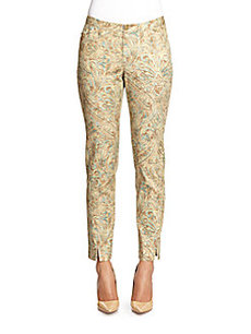 Lafayette 148 New York Paisley-Print Stretch Cotton Ankle Pants