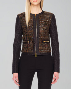Michael Kors Shimmery Boucle Zip Jacket