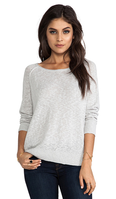 Joie Lynn Slubby Cotton Linen Pullover in Gray
