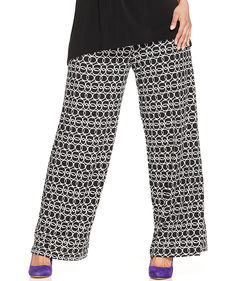 Alfani Plus Size Printed Wide-Leg Soft Pants