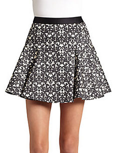 Robert Rodriguez Filigree-Print Flounced Skirt