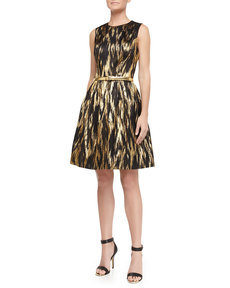 Michael Kors Metallic Ikat Jacquard Fit-And-Flare Dress, Black/Gold